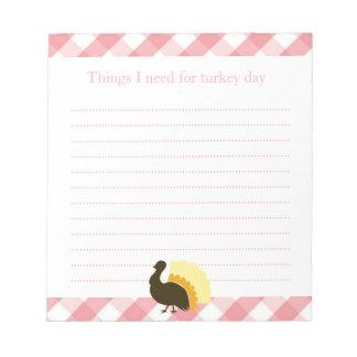 Lista de compras de la guinga del rosa del pavo de bloc de notas