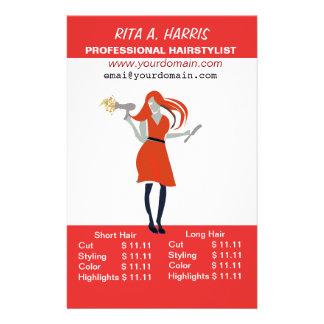 Lista de precios de la peluquería del Hairstylist Folleto 14 X 21,6 Cm