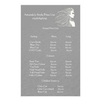 Lista de precios del estilista gris simple folleto 14 x 21,6 cm