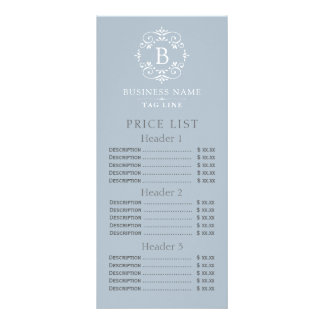 Lista de precios del monograma elegante del azul tarjeta publicitaria