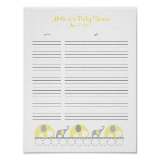 Lista de regalo amarilla y gris de la fiesta de bi poster