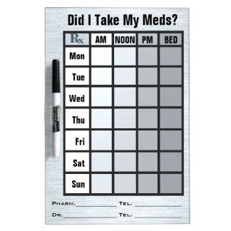 Lista de verificación de la medicación de 4 pizarra blanca