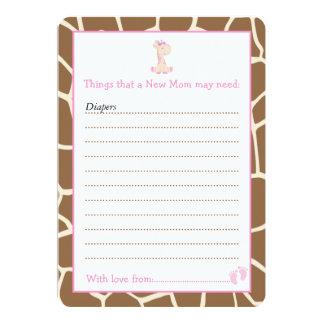 Lista del consejo de la jirafa del chica para la invitación 12,7 x 17,8 cm