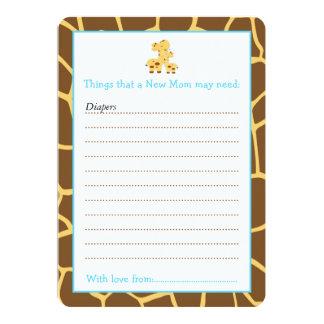 Lista del consejo de la jirafa del muchacho para invitación 12,7 x 17,8 cm