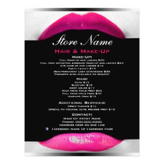 Lista del salón de belleza del artista de maquilla folleto 21,6 x 28 cm