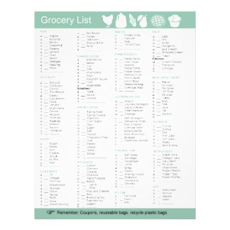 Lista del ultramarinos de la comida, del papel, de folleto 21,6 x 28 cm