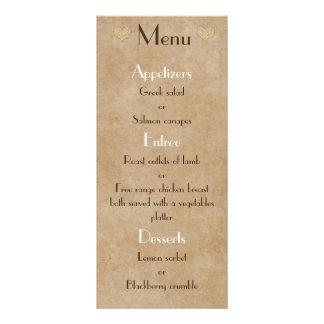Lista rústica del menú del boda del corazón de la