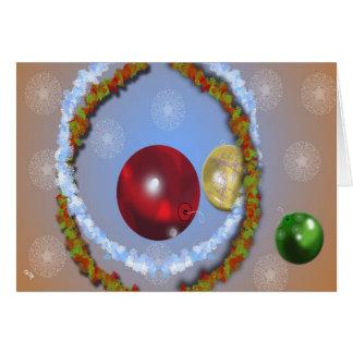 Lites y ornamentos tarjeta de felicitación