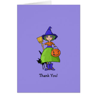 Little Witch purple Thank You Note Card