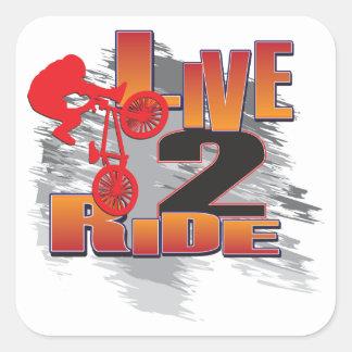 LIVE-2-RIDE-BMX PEGATINA CUADRADA