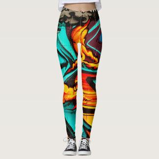 Llama abstracta de la pintada leggings