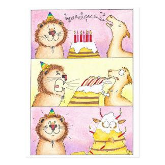 Llama CONTRA la postal del cumpleaños del león de