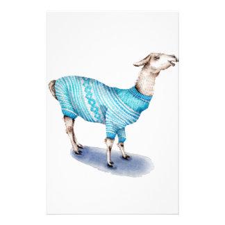 Llama de la acuarela en suéter azul papelería