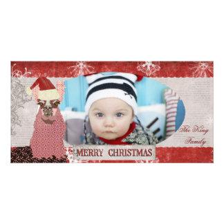 Llama Red & Silver Christmas Photo Card