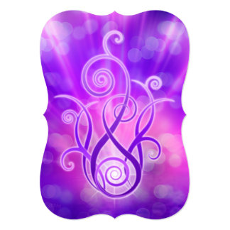 Llama violeta/fuego violeta invitación 12,7 x 17,8 cm