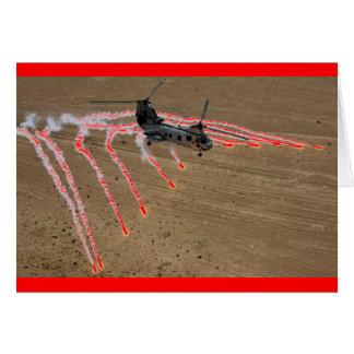 llamaradas del calor del helicóptero del chinook tarjeton