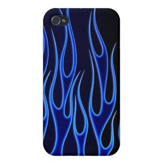 Llamas azules iPhone 4 fundas
