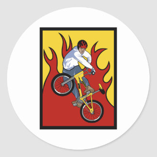Llamas de BMX Pegatina Redonda