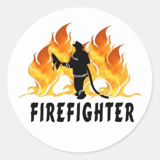 Llamas del bombero etiquetas redondas