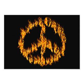 Llamas y signo de la paz de los corazones invitación 12,7 x 17,8 cm