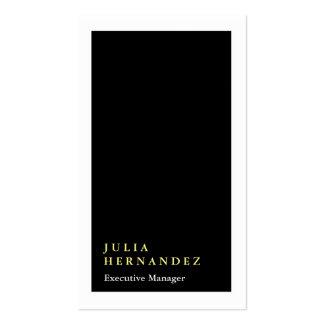 Llano blanco negro elegante vertical de la tarjetas de visita