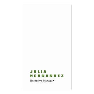 Llano blanco verde impresionante elegante vertical tarjetas de visita