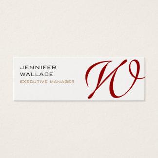 Llano moderno de moda del monograma rojo blanco tarjeta de visita mini