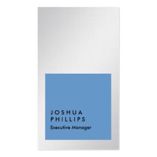 Llano profesional azul de la plata metalizada tarjetas de visita