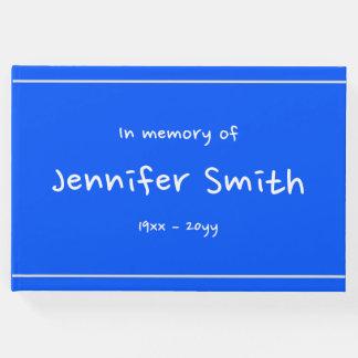 Llano y Guestbook azul simple de las condolencias Libro De Visitas