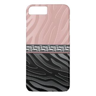 Llave blanco y negro rosada del Griego de la raya Funda iPhone 7 Plus
