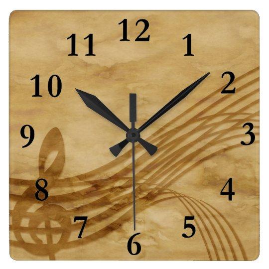 Llave del violín reloj cuadrado