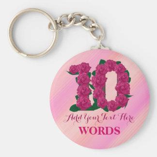 Llavero 10mos plantilla floral color de rosa rosada del
