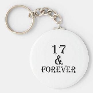 Llavero 17 y para siempre diseños del cumpleaños