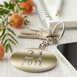 Llavero 21ra plata número 21 del oro del regalo de