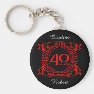 Llavero 40.o escudo del rubí del aniversario de boda