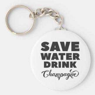 Llavero Ahorre el agua, bebida Champán
