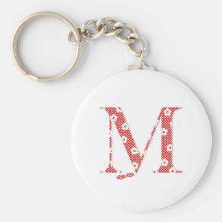 Llavero alfabeto M de la flor (rojo y puntos)