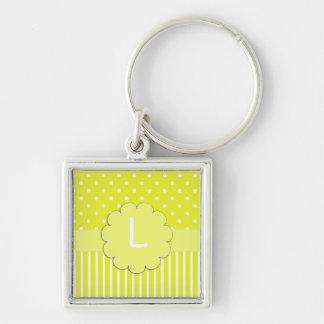 Llavero amarillo del monograma del lunar y de las