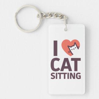 Llavero Amo la sentada del gato