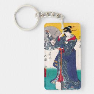 Llavero Arte clásico japonés oriental fresco de la señora