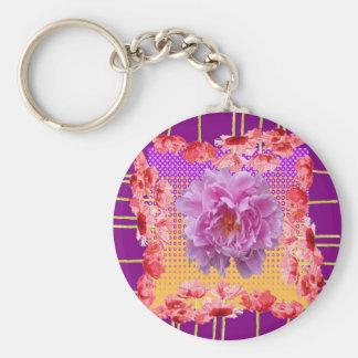 Llavero arte floral púrpura del peony rosado