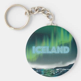 Llavero Arte islandés del viaje de la aurora boreal