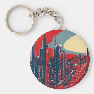 Llavero Arte pop artístico del horizonte de Dubai