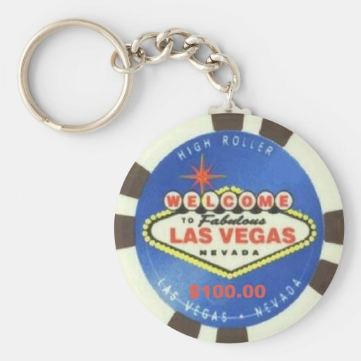 Llavero azul de Las Vegas de la ficha de póker de