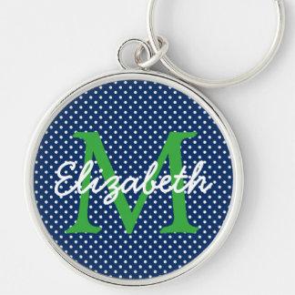 Llavero Azules marinos con el monograma verde y blanco del
