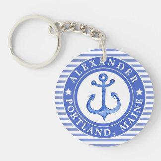 Llavero Azules marinos náuticos del ancla personalizados