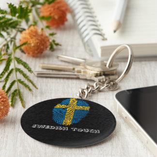 Llavero Bandera de la huella dactilar del tacto del sueco