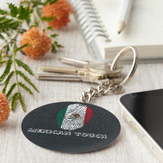 Llavero bandera mexicana de la huella dactilar del tacto
