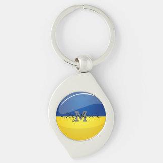 Llavero Bandera ucraniana redonda brillante