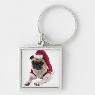 Llavero Barro amasado del navidad - perro de Papá Noel -